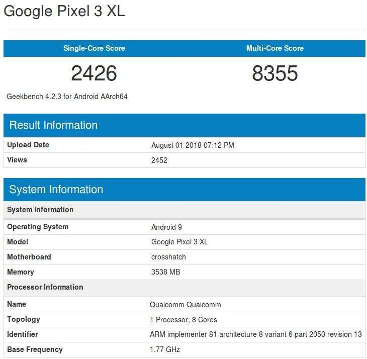 pixel 3 xl geekbench